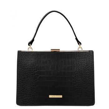 Croc print leather handbag IRIS