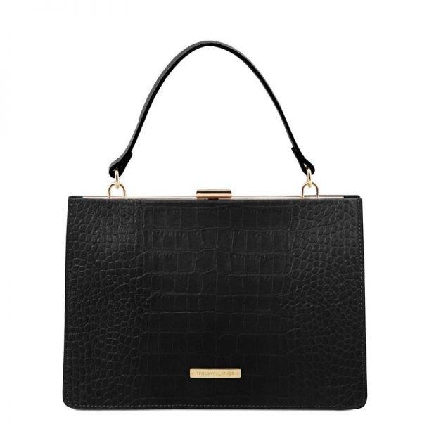 Croc print leather handbag IRIS
