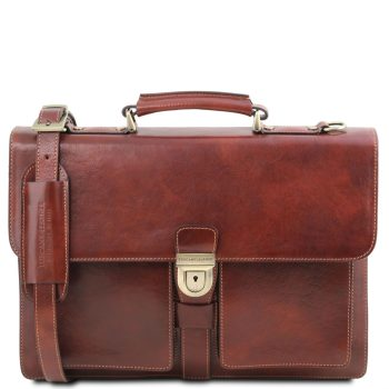 Leather Briefcase with 3 Compartments - Assisi