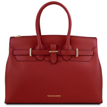 Leather Handbag With Golden Hardware - Elettra