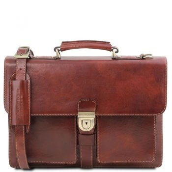 Leather briefcase 3 compartments ASSISI