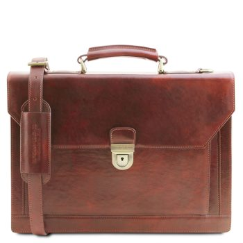 Leather briefcase 3 compartments CREMONA