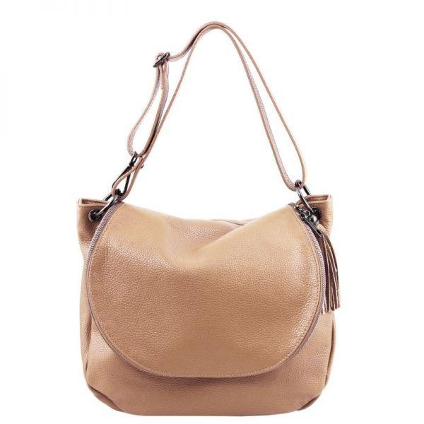 Soft leather shoulder bag with tassel detail TL BAG