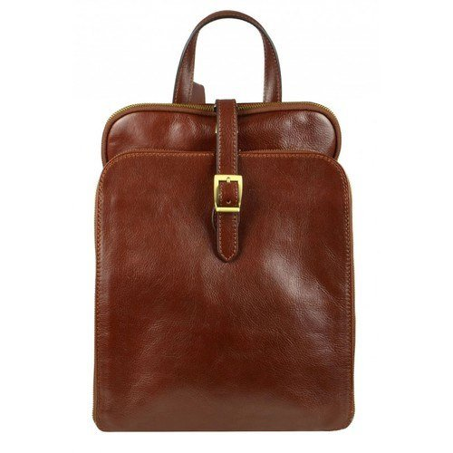 Womens Brown Leather Laptop Backpack