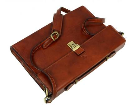 Amber Leather Laptop Briefcase With Shoulder Strap