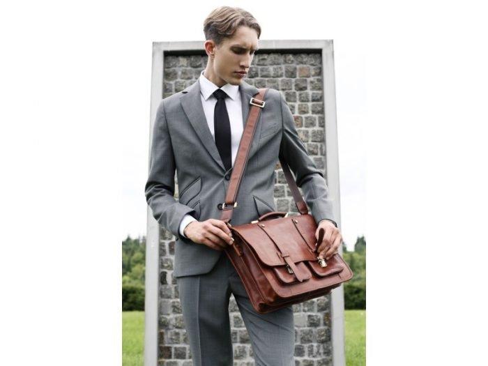Brown Leather Laptop Bag With Shoulder Strap