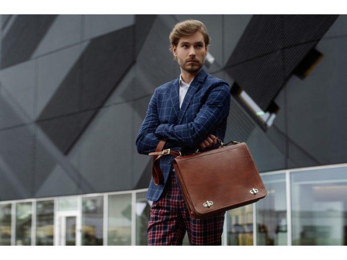 Superb Orange Leather Briefcase For Men With Detachable Shoulder Strap