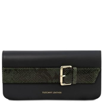 Leather Clutch With Chain Strap - Demetra