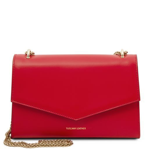 Leather Clutch With Chain Strap - Fortuna