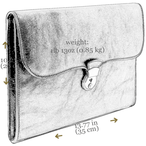 Genuine Leather Portfolio Document Holder - Age of Innocence - Dimensions