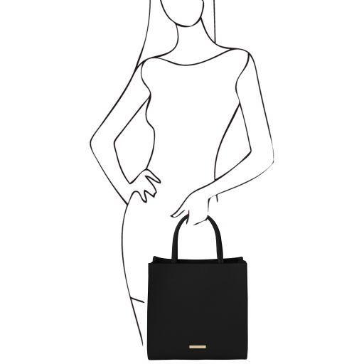 Leather Vertical Tote Bag - Medea 6