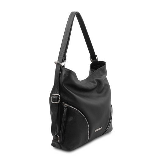 Soft Leather Convertible Shoulder Bag Backpack - Mardi 1
