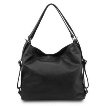 Soft Leather Convertible Shoulder Bag Backpack - Mardi 2