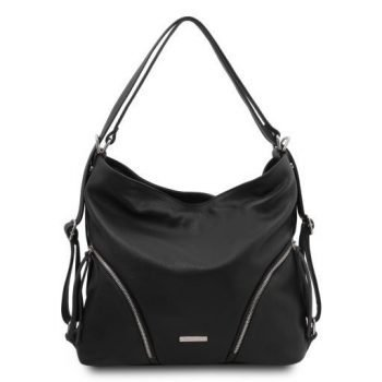 Soft Leather Convertible Shoulder Bag Backpack - Mardi