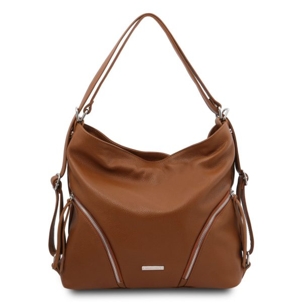 Soft Leather Convertible Shoulder Bag - Backpack - Mardi