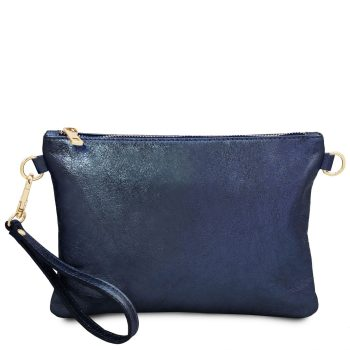 Metallic Soft Leather Clutch Handbag - Pertuis