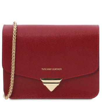 Saffiano Leather Clutch with Chain Strap - Elemento