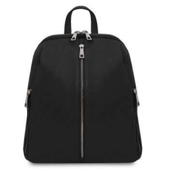 Soft Leather Backpack for Women - Cassis