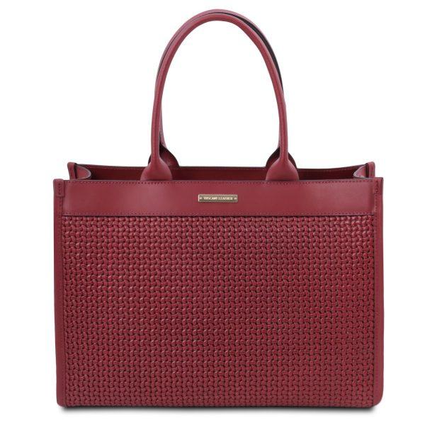 Woven Printed Leather Shopping Bag - Orsan