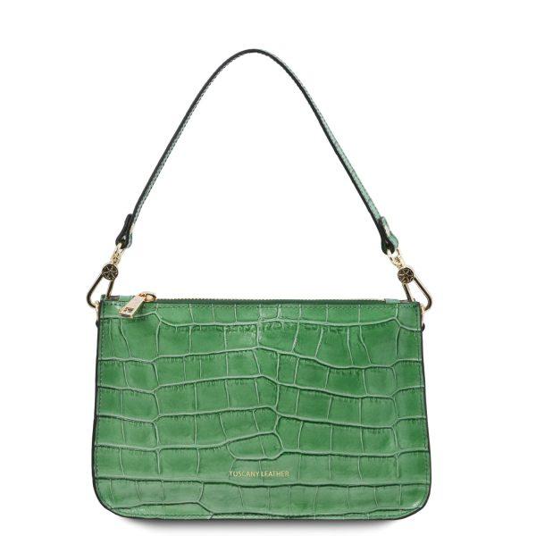 Croc Print Leather Clutch Handbag – Cassandra