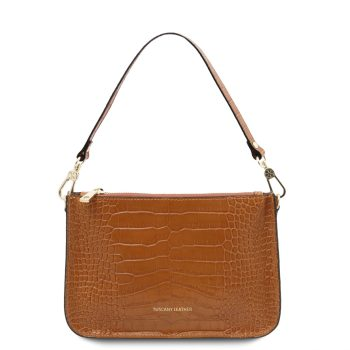 Croc Print Leather Clutch Handbag - Cassandra