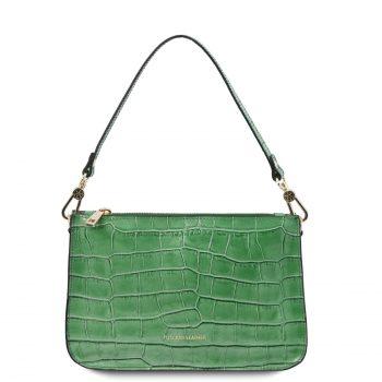 Croc Print Leather Clutch Handbag - Cassandra