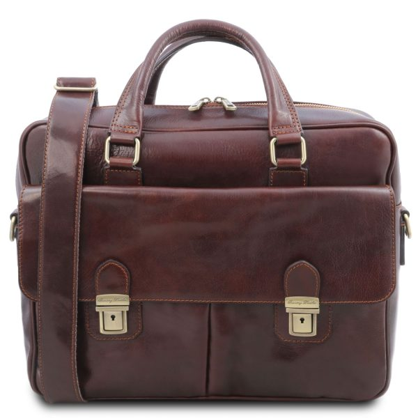 Leather Multi Compartment Laptop Briefcase With Two Front Pockets - San Miniato