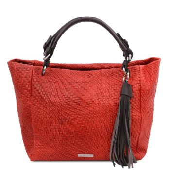 Woven Printed Leather Shopping Bag - Stenay