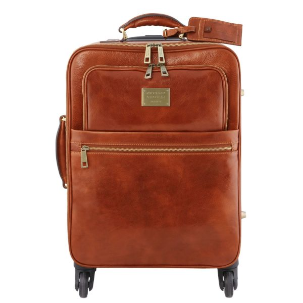 4 Wheels Vertical Leather Trolley Bag - Martrin