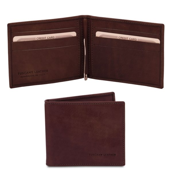 Exclusive Leather Card Holder with Money Clip - Gargas
