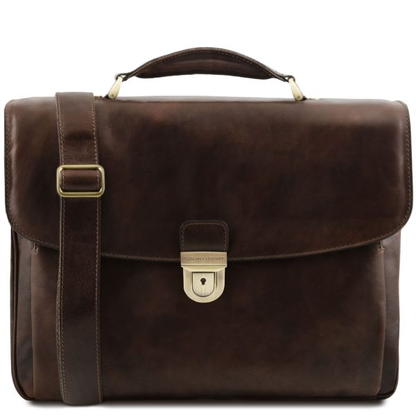 Leather Multi-Compartment Laptop Briefcase – Alessandria