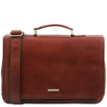 Leather Multi Compartment Laptop Briefcase with Flap – Mantova