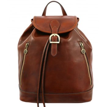 Leather Backpack for Women – White Noise - Brown