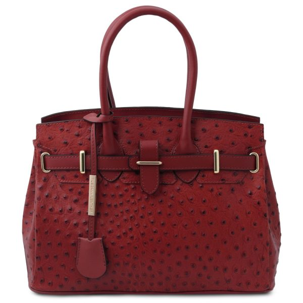 Handbag in ostrich-print leather – Courry