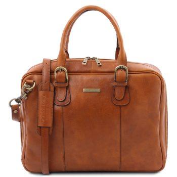 Matte Leather Multi-Compartment Briefcase – Matera