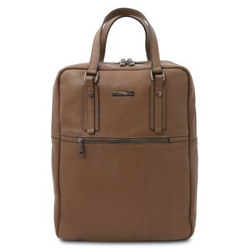 Soft Leather Backpack with 2 Compartments – Bazas